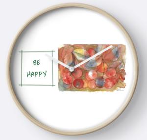 Be Happy Cherries Clock