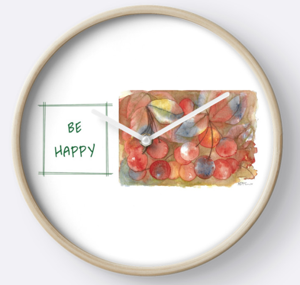 Be Happy Cherries Clock