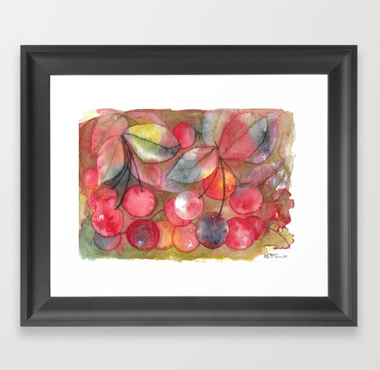 Cherries framed art