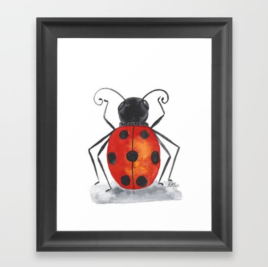 Ladybug One framed art